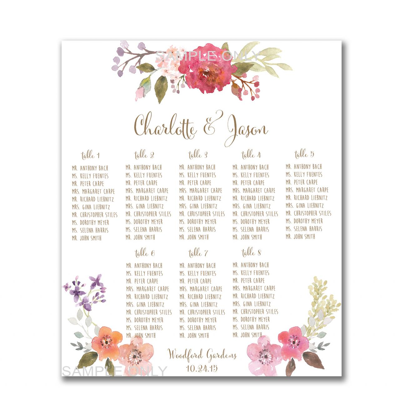 Wedding Table Seating Chart PRINTABLE - 50 - 130 Guests, Customized ...