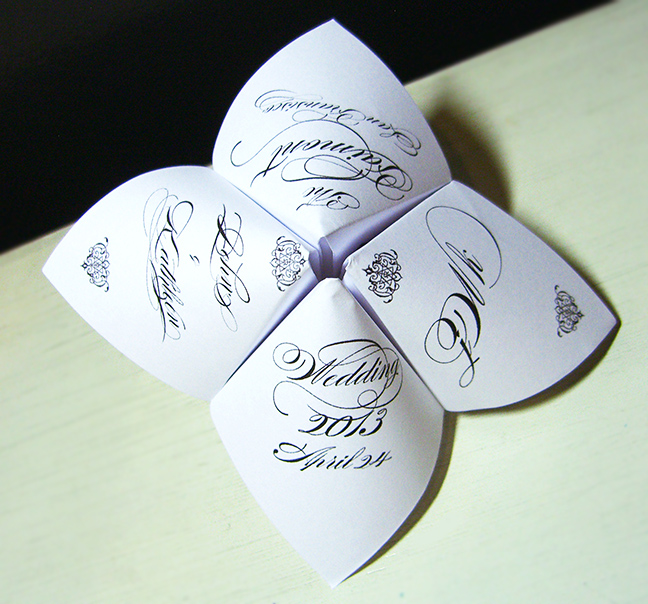 Wedding Cootie Catcher Party Favor - PERSONALIZED on Luulla