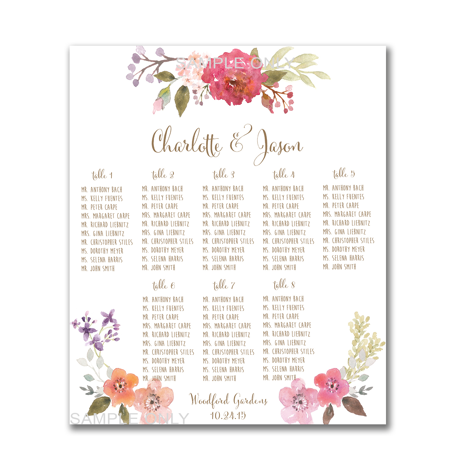 Wedding Table Seating Chart Printable 50 130 Guests Customized Plan Pritnable